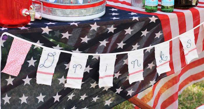 Drink table + banner from a Red + White & Blue Outdoor Summer 4th of July Celebration via Kara's Party Ideas - KarasPartyIdeas.com (45)
