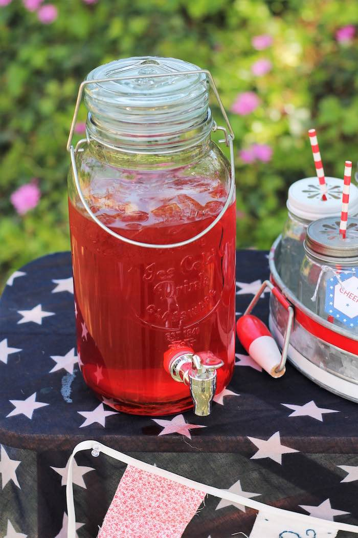 Beverage dispenser from a Red + White & Blue Outdoor Summer 4th of July Celebration via Kara's Party Ideas - KarasPartyIdeas.com (44)