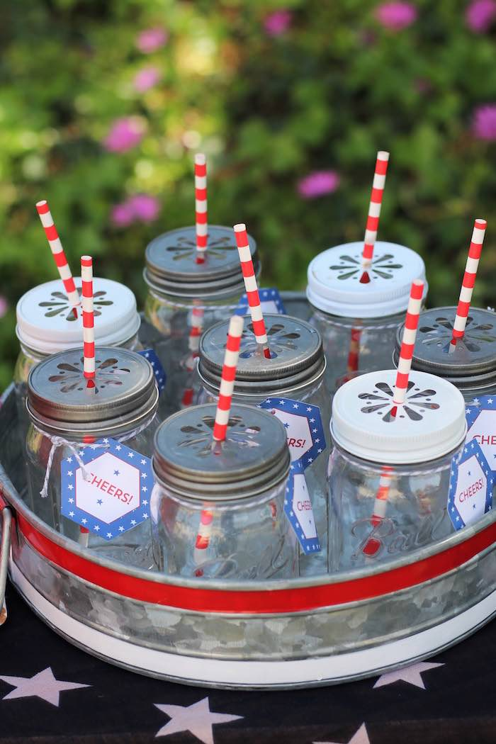 Mason jar drink cups from a Red + White & Blue Outdoor Summer 4th of July Celebration via Kara's Party Ideas - KarasPartyIdeas.com (43)