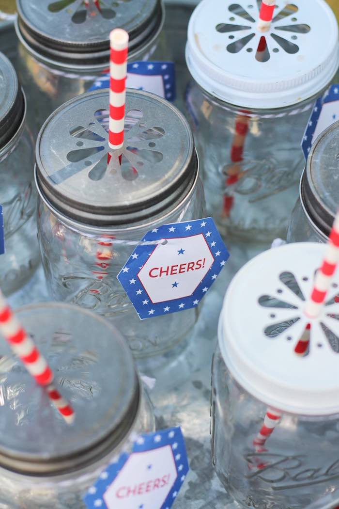 Mason jars with daisy cut lids from a Red + White & Blue Outdoor Summer 4th of July Celebration via Kara's Party Ideas - KarasPartyIdeas.com (42)