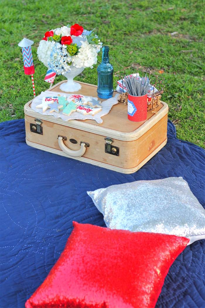 Picnic party spread from a Red + White & Blue Outdoor Summer 4th of July Celebration via Kara's Party Ideas - KarasPartyIdeas.com (78)