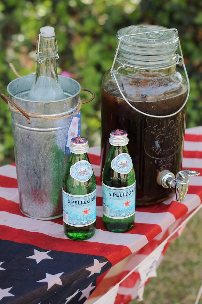 Drink dispensers from a Red + White & Blue Outdoor Summer 4th of July Celebration via Kara's Party Ideas - KarasPartyIdeas.com (41)