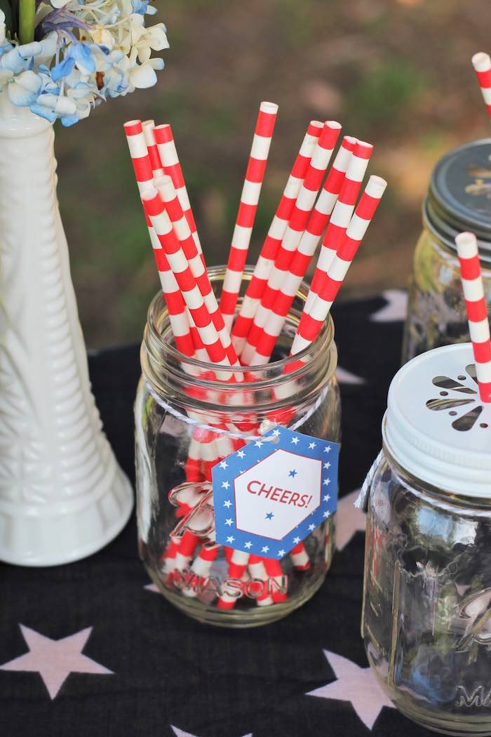 Paper straws from a Red + White & Blue Outdoor Summer 4th of July Celebration via Kara's Party Ideas - KarasPartyIdeas.com (40)