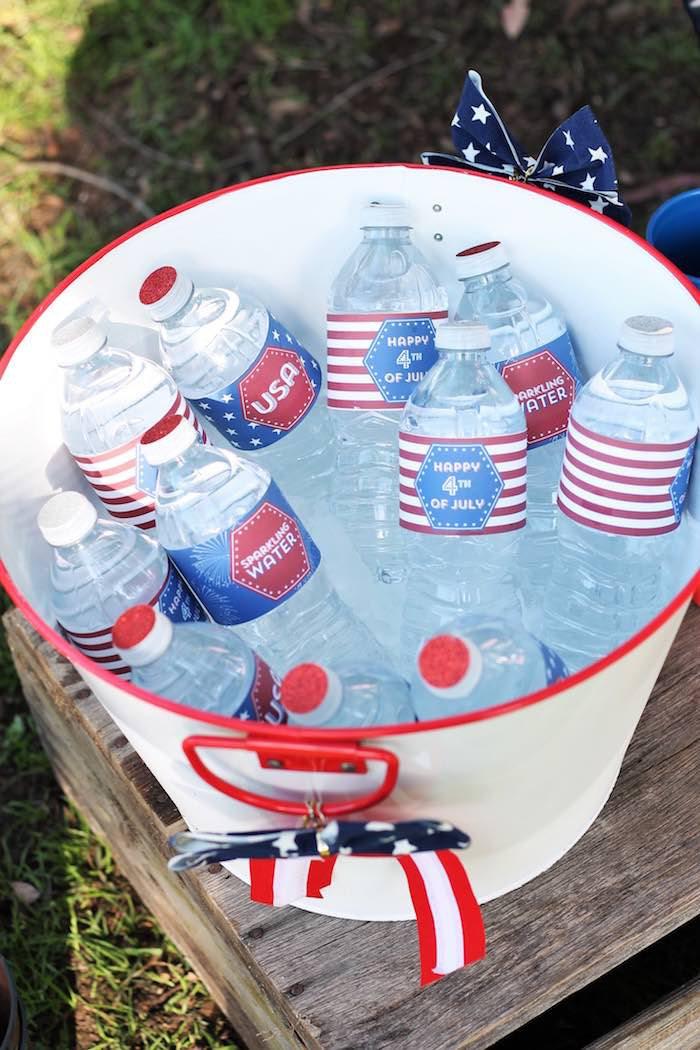 Water bottles from a Red + White & Blue Outdoor Summer 4th of July Celebration via Kara's Party Ideas - KarasPartyIdeas.com (38)