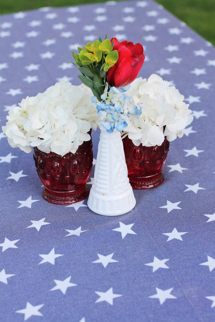 Guest table decor from a Red + White & Blue Outdoor Summer 4th of July Celebration via Kara's Party Ideas - KarasPartyIdeas.com (37)