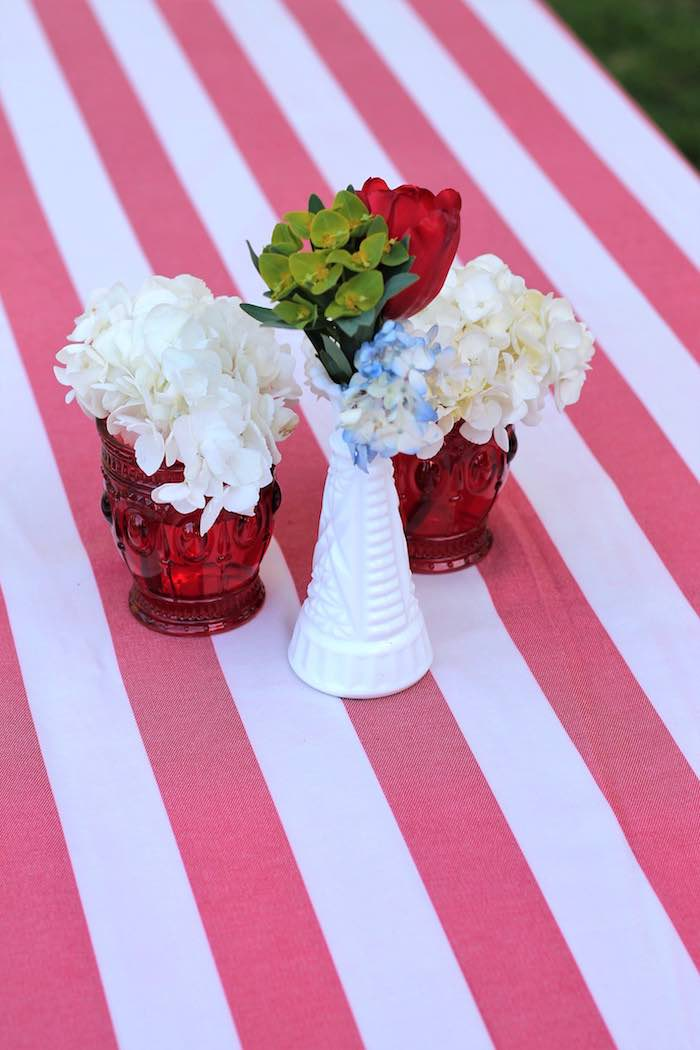 Guest table decor from a Red + White & Blue Outdoor Summer 4th of July Celebration via Kara's Party Ideas - KarasPartyIdeas.com (36)
