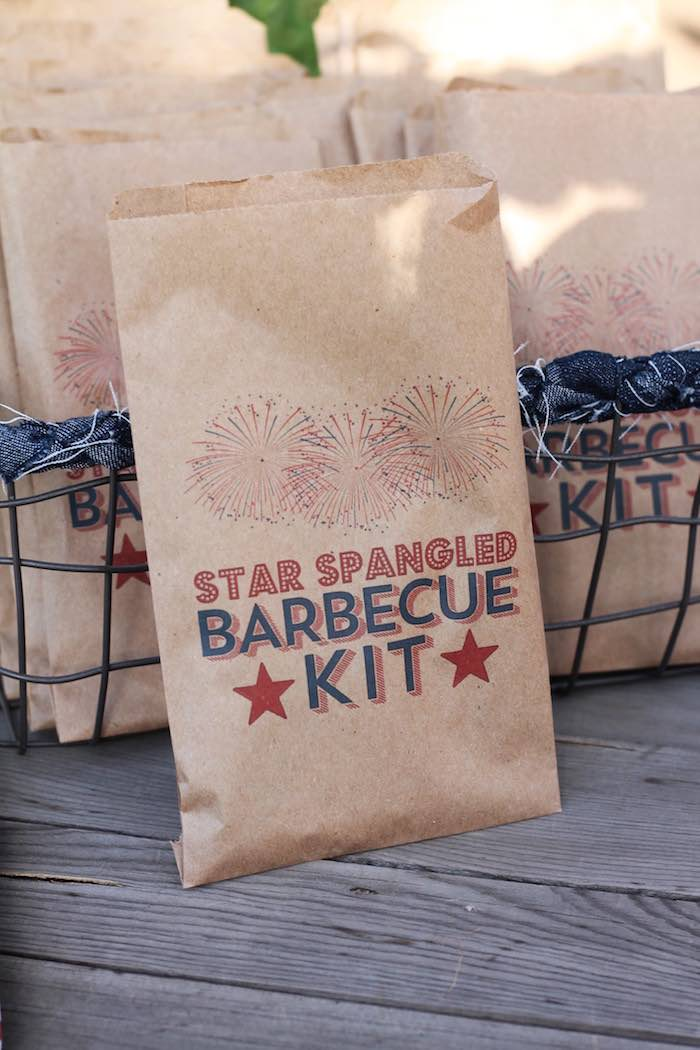 Barbecue + utensil kit from a Red + White & Blue Outdoor Summer 4th of July Celebration via Kara's Party Ideas - KarasPartyIdeas.com (33)