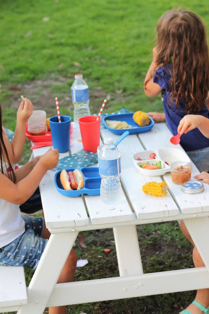 Kids table from a Red + White & Blue Outdoor Summer 4th of July Celebration via Kara's Party Ideas - KarasPartyIdeas.com (26)