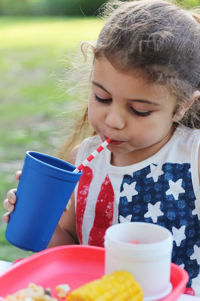 Little girl from a Red + White & Blue Outdoor Summer 4th of July Celebration via Kara's Party Ideas - KarasPartyIdeas.com (24)