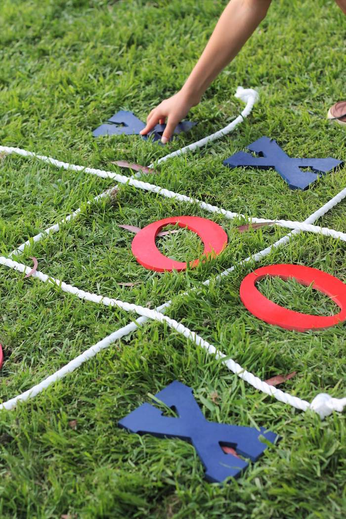 Tic tac toe game from a Red + White & Blue Outdoor Summer 4th of July Celebration via Kara's Party Ideas - KarasPartyIdeas.com (22)
