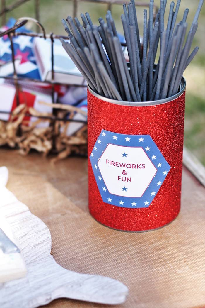 Sparklers from a Red + White & Blue Outdoor Summer 4th of July Celebration via Kara's Party Ideas - KarasPartyIdeas.com (76)