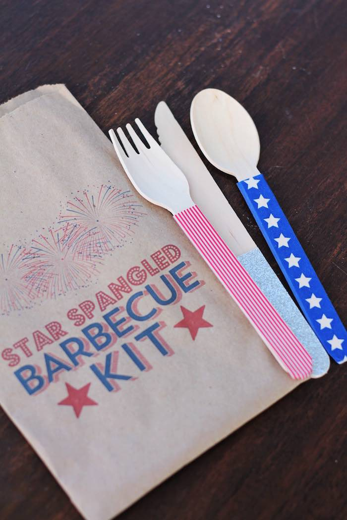 Utensil kit from a Red + White & Blue Outdoor Summer 4th of July Celebration via Kara's Party Ideas - KarasPartyIdeas.com (16)