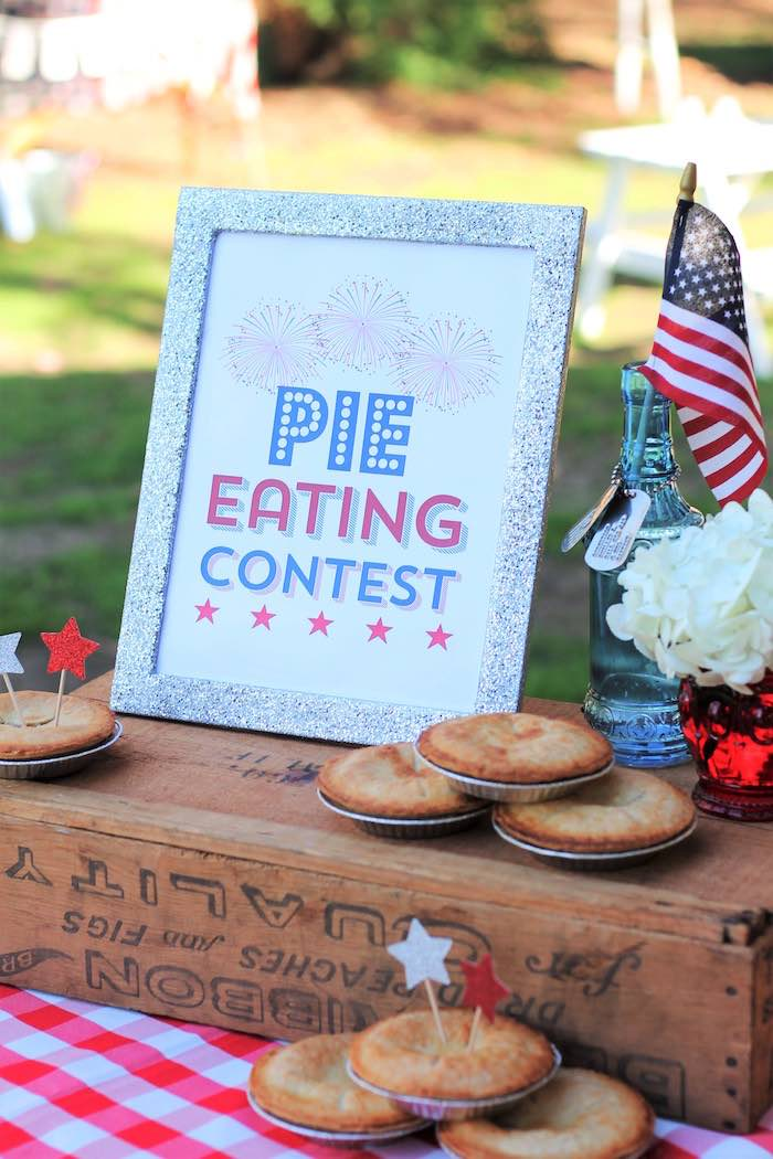 Pie eating contest supplies from a Red + White & Blue Outdoor Summer 4th of July Celebration via Kara's Party Ideas - KarasPartyIdeas.com (15)