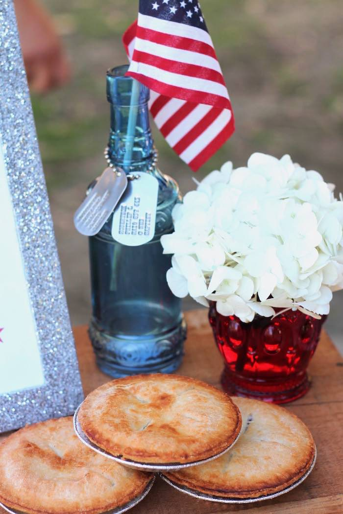 Patriotic decor from a Red + White & Blue Outdoor Summer 4th of July Celebration via Kara's Party Ideas - KarasPartyIdeas.com (13)