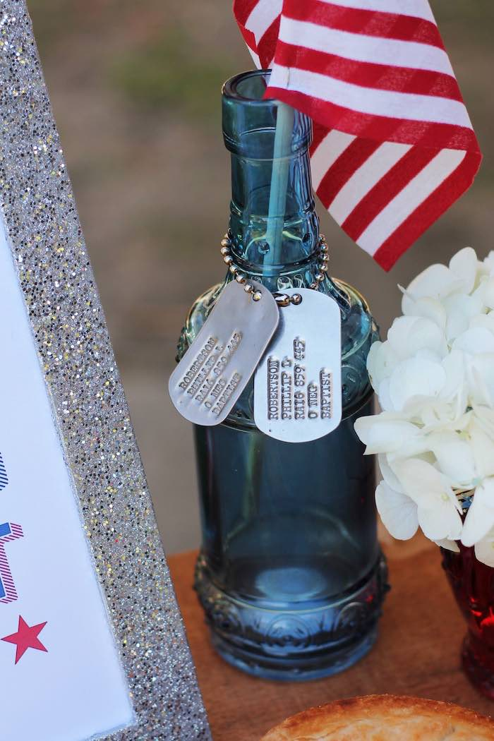 Dog tag bottle from a Red + White & Blue Outdoor Summer 4th of July Celebration via Kara's Party Ideas - KarasPartyIdeas.com (12)