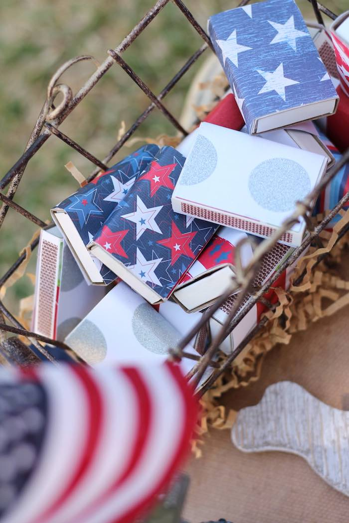 Match boxes from a Red + White & Blue Outdoor Summer 4th of July Celebration via Kara's Party Ideas - KarasPartyIdeas.com (75)