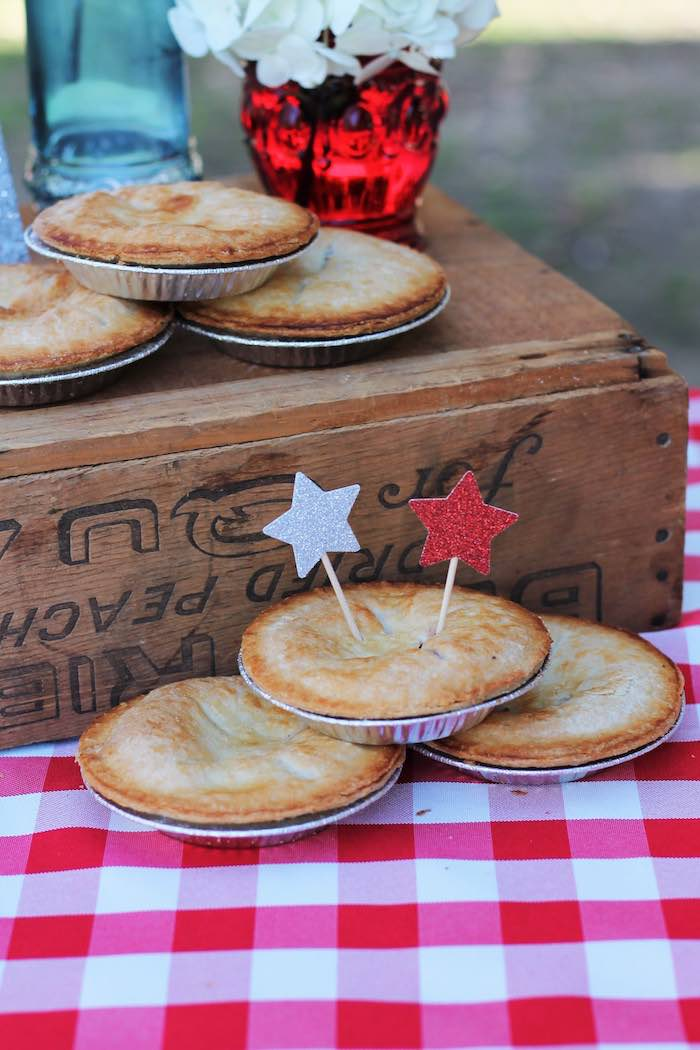 Mini pies from a Red + White & Blue Outdoor Summer 4th of July Celebration via Kara's Party Ideas - KarasPartyIdeas.com (11)