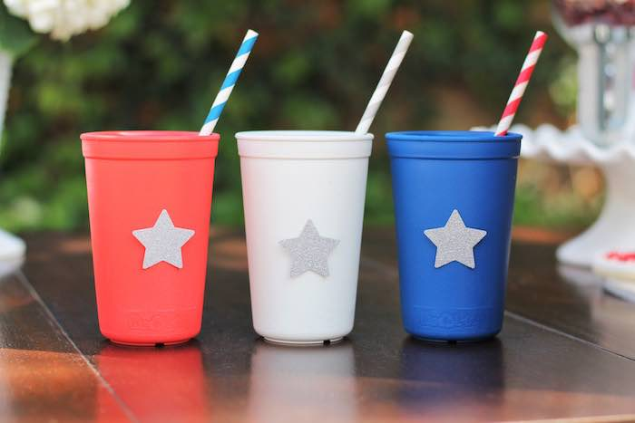 Cups from a Red + White & Blue Outdoor Summer 4th of July Celebration via Kara's Party Ideas - KarasPartyIdeas.com (8)
