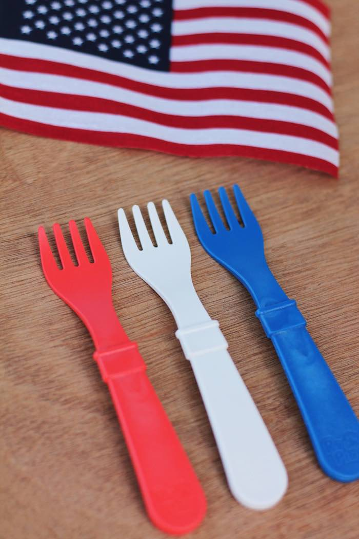 Patriotic forks from a Red + White & Blue Outdoor Summer 4th of July Celebration via Kara's Party Ideas - KarasPartyIdeas.com (7)