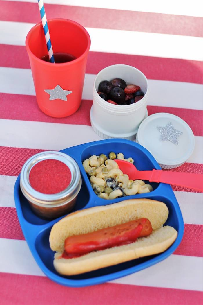 Plate of food from a Red + White & Blue Outdoor Summer 4th of July Celebration via Kara's Party Ideas - KarasPartyIdeas.com (5)