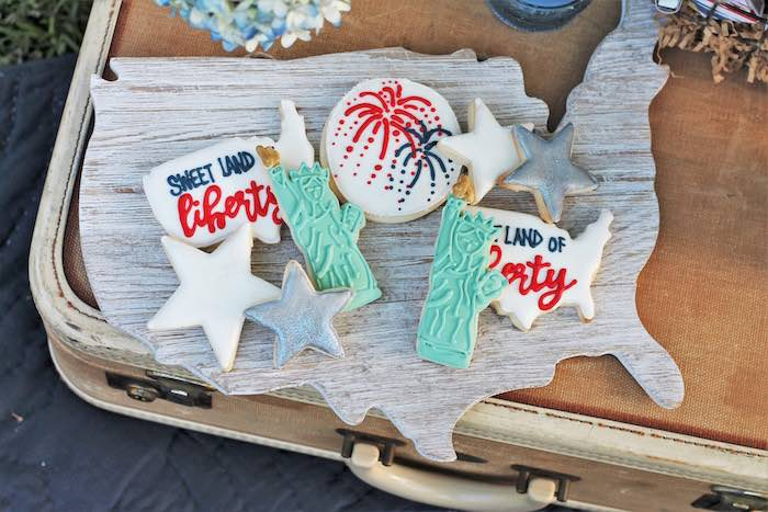Cookie display from a Red + White & Blue Outdoor Summer 4th of July Celebration via Kara's Party Ideas - KarasPartyIdeas.com (74)