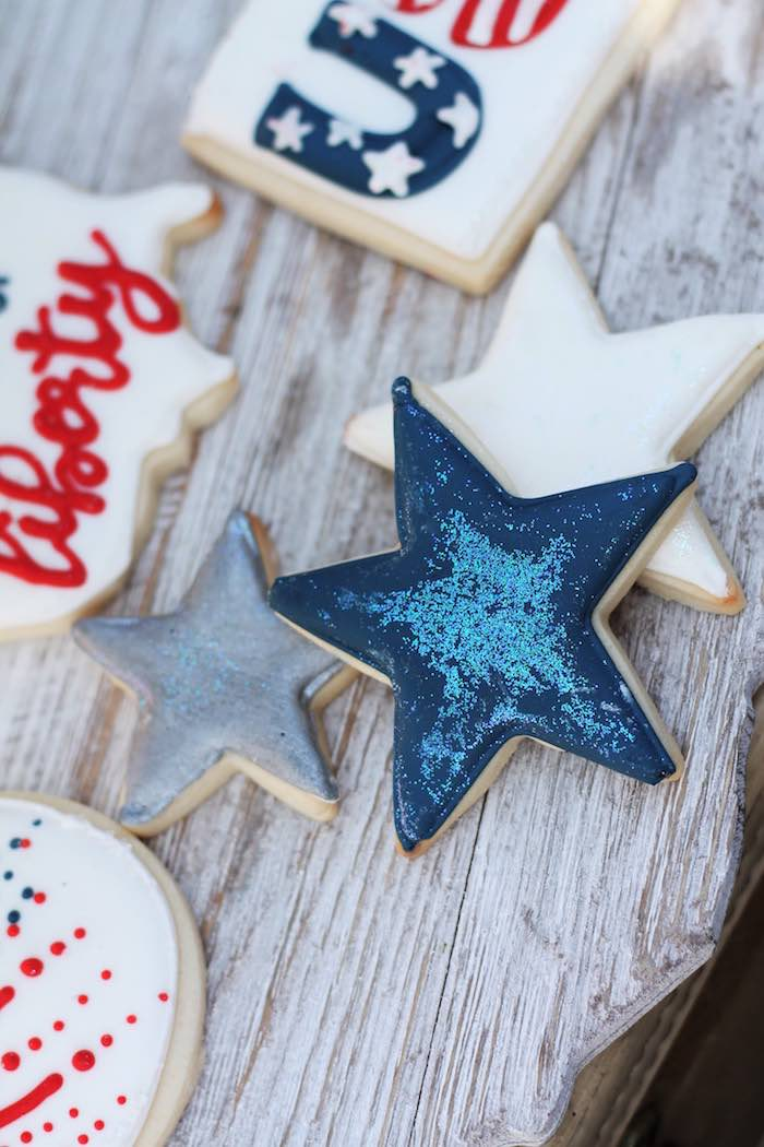 Star cookies from a Red + White & Blue Outdoor Summer 4th of July Celebration via Kara's Party Ideas - KarasPartyIdeas.com (73)