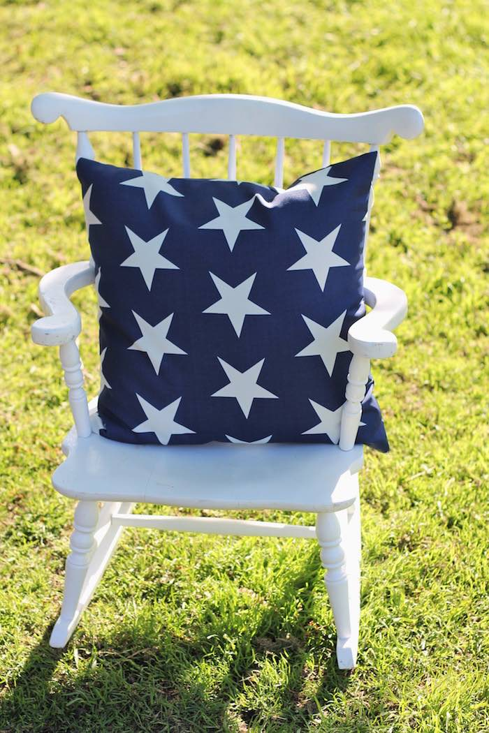 Rocking chair from a Red + White & Blue Outdoor Summer 4th of July Celebration via Kara's Party Ideas - KarasPartyIdeas.com (72)