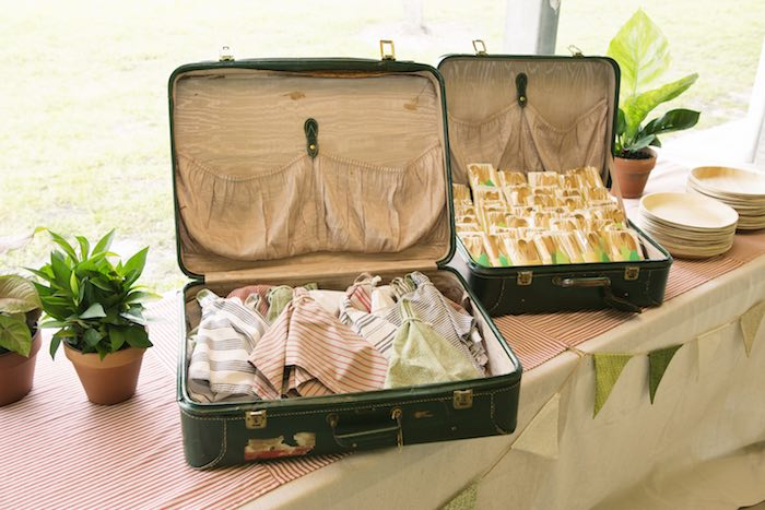 Napkins + utensil packs placed in vintage suitcases from a Safari Themed Birthday Party via Kara's Party Ideas | KarasPartyIdeas.com (22)