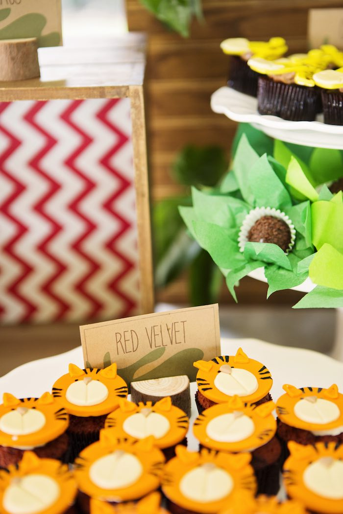 Red velvet tiger cupcakes from a African Inspired Safari Themed Birthday Party via Kara's Party Ideas | KarasPartyIdeas.com (16)