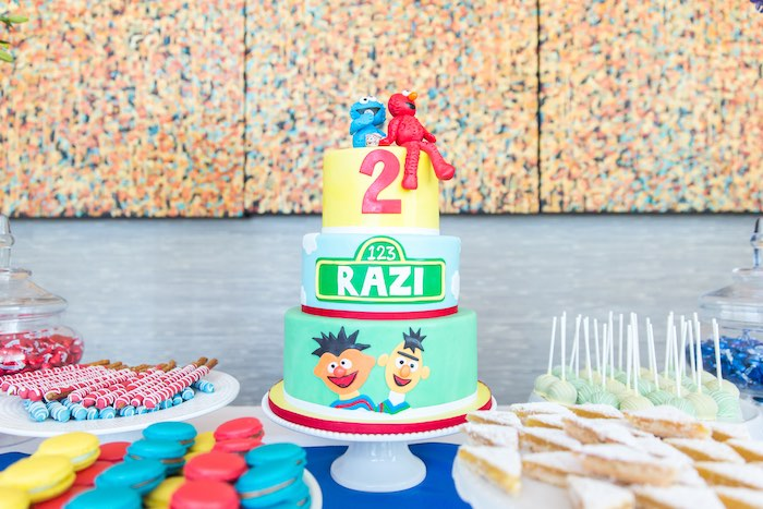 Cake display from a Sesame Street Birthday Party via Kara's Party Ideas | KarasPartyIdeas.com - The Place for All Things Party! (35)