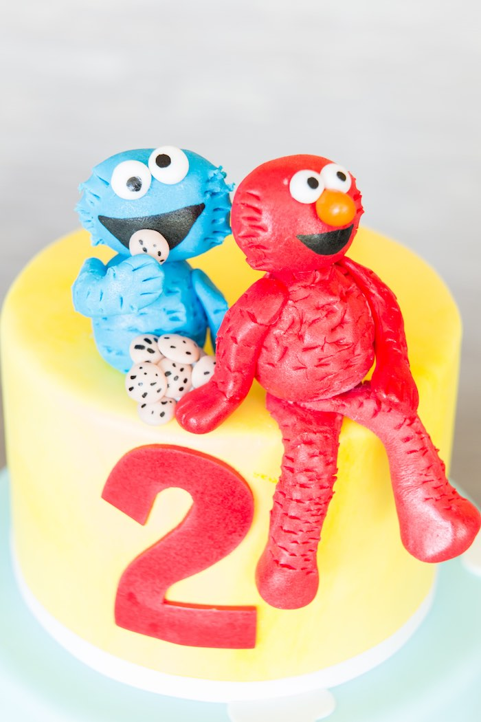 Cake top from a Birthday Party at Sesame Street via Kara's Party Ideas | KarasPartyIdeas.com - The Place for All Things Party! (33)