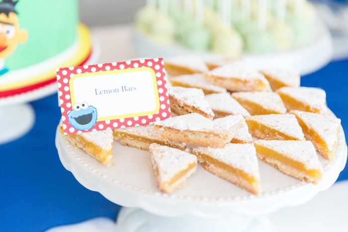 Lemon bars from a Sesame Street Birthday Party via Kara's Party Ideas | KarasPartyIdeas.com - The Place for All Things Party! (32)