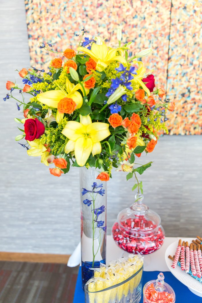 Floral arrangement from a Birthday Party at Sesame Street via Kara's Party Ideas | KarasPartyIdeas.com - The Place for All Things Party! (28)