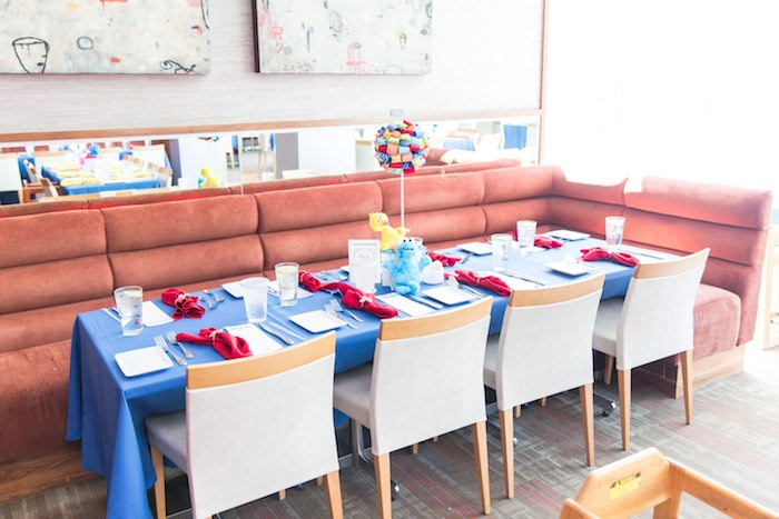 Guest table from a Sesame Street Birthday Party via Kara's Party Ideas | KarasPartyIdeas.com - The Place for All Things Party! (27)