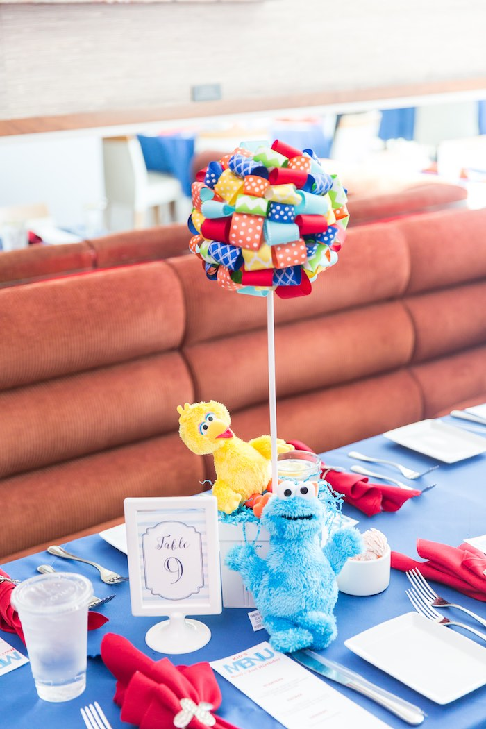 Sesame Street-inspired ribbon topiary centerpiece from a Sesame Street Birthday Party via Kara's Party Ideas | KarasPartyIdeas.com - The Place for All Things Party! (26)