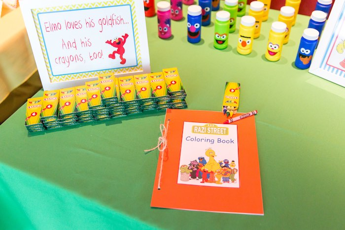 Favor + activity table from a Sesame Street Birthday Party via Kara's Party Ideas | KarasPartyIdeas.com - The Place for All Things Party! (17)