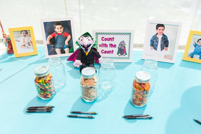 Count with the Count table from a Sesame Street Birthday Party via Kara's Party Ideas | KarasPartyIdeas.com - The Place for All Things Party! (42)