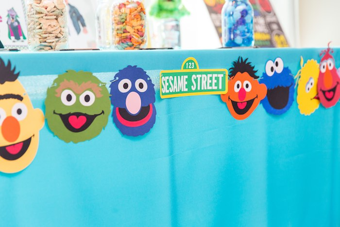 Sesame Street character banner from a Sesame Street Birthday Party via Kara's Party Ideas | KarasPartyIdeas.com - The Place for All Things Party! (39)
