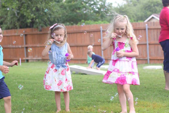 Little girls blowing bubbles at a Shabby Chic Farmers Market Birthday Party via Kara's Party Ideas | KarasPartyIdeas.com - The place for all things PARTY! (41)