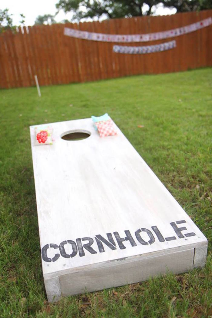 Bean bag toss game from a Shabby Chic Farmers Market Birthday Party via Kara's Party Ideas | KarasPartyIdeas.com - The place for all things PARTY! (38)