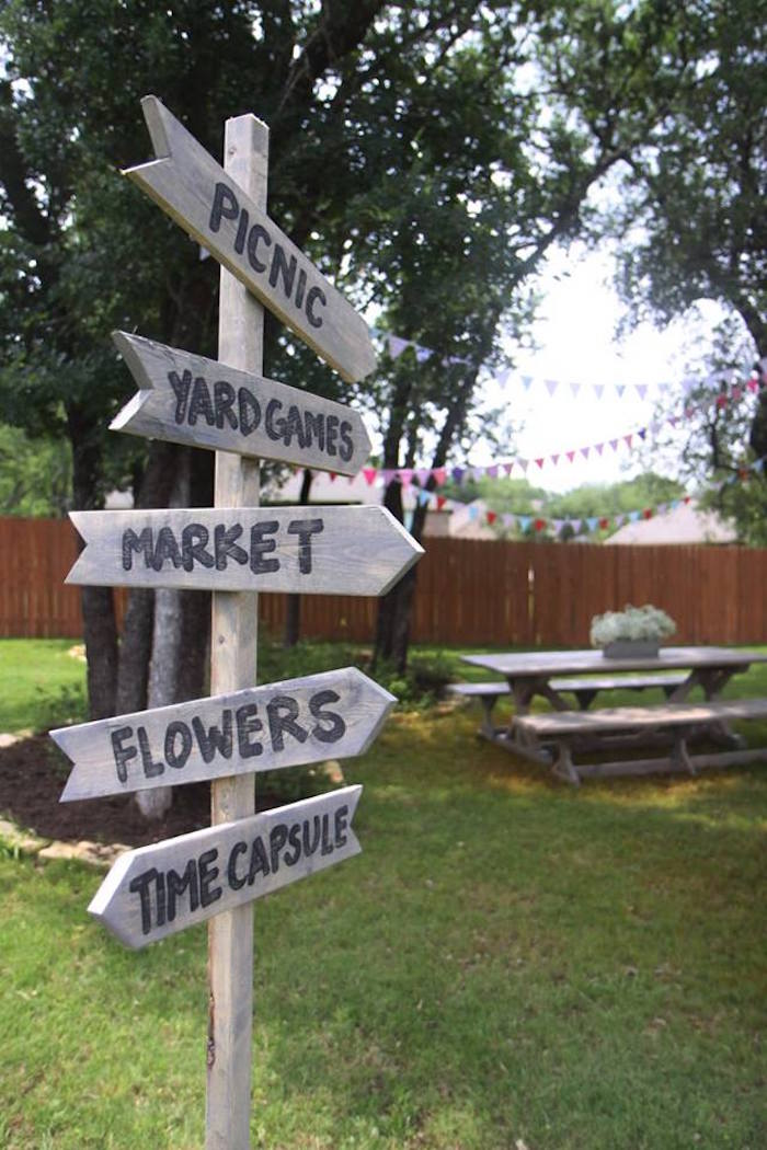 Wooden directional sign from a Shabby Chic Farmers Market Birthday Party via Kara's Party Ideas | KarasPartyIdeas.com - The place for all things PARTY! (34)
