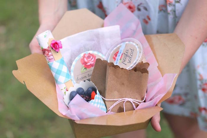 Food box from a Shabby Chic Farmers Market Birthday Party via Kara's Party Ideas | KarasPartyIdeas.com - The place for all things PARTY! (52)