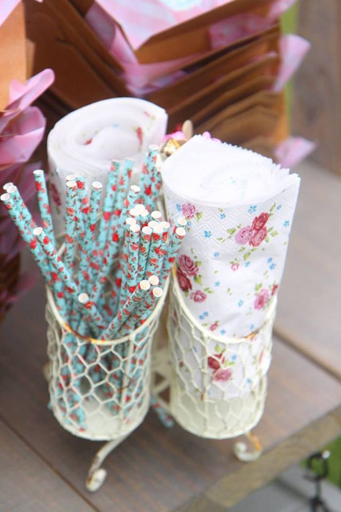 Floral straws & napkins from a Shabby Chic Farmers Market Birthday Party via Kara's Party Ideas | KarasPartyIdeas.com - The place for all things PARTY! (32)
