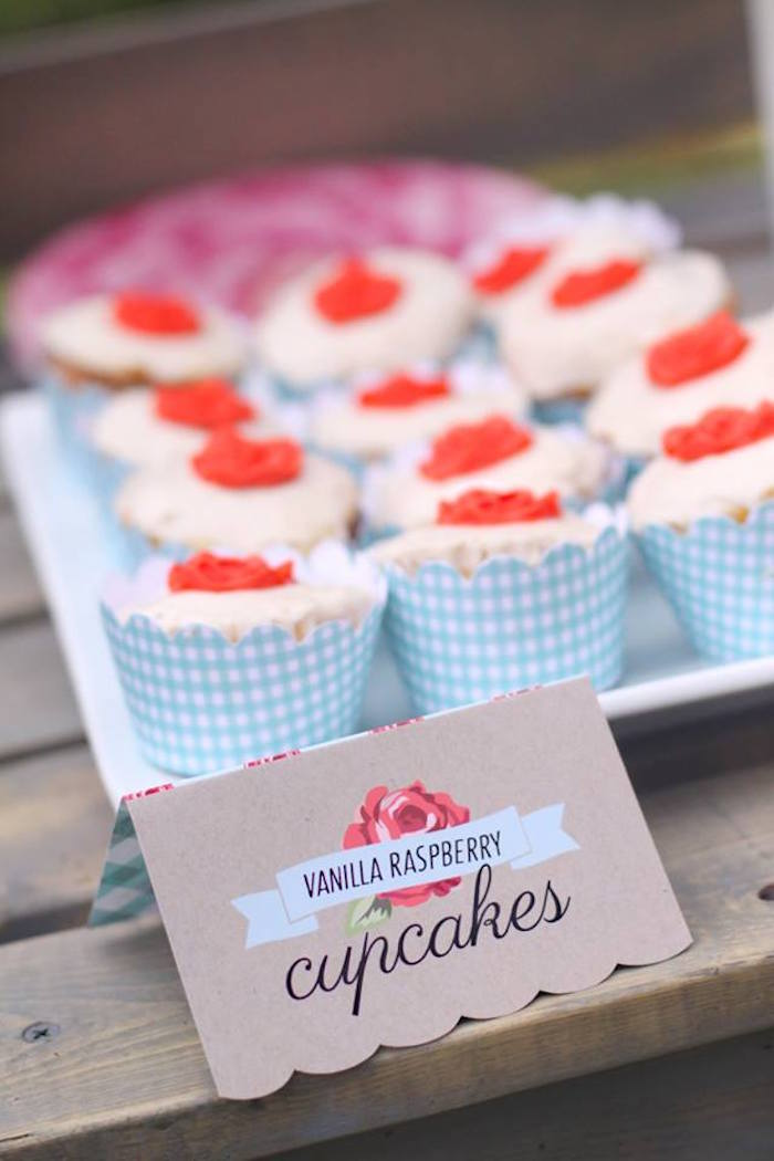 Cupcakes from a Shabby Chic Farmers Market Birthday Party via Kara's Party Ideas | KarasPartyIdeas.com - The place for all things PARTY! (31)