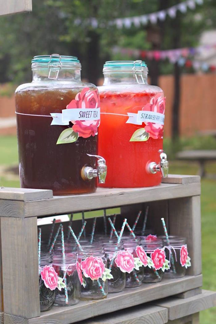 Beverage station from a Shabby Chic Farmers Market Birthday Party via Kara's Party Ideas | KarasPartyIdeas.com - The place for all things PARTY! (17)