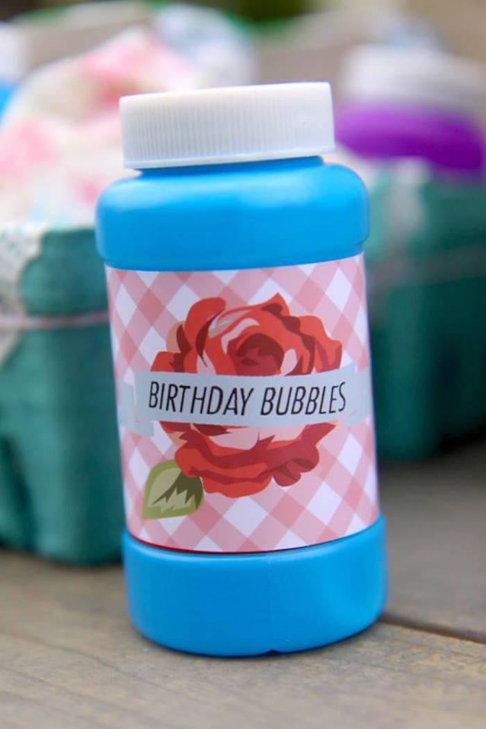 Bubble favors from a Shabby Chic Farmers Market Birthday Party via Kara's Party Ideas | KarasPartyIdeas.com - The place for all things PARTY! (6)