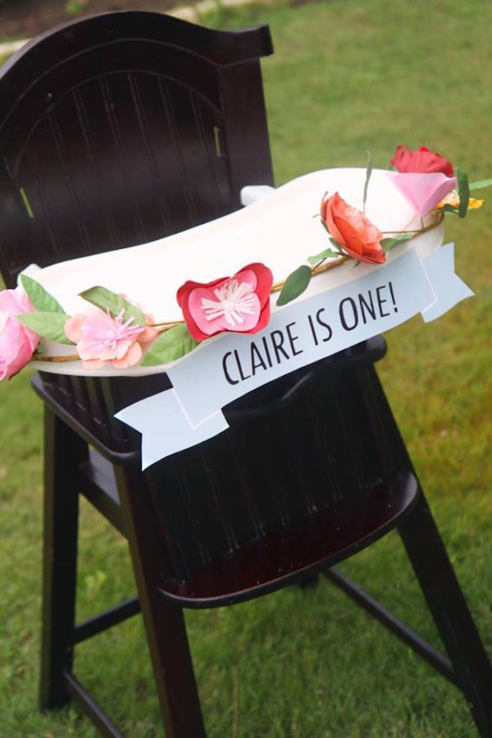 High chair banner from a Shabby Chic Farmers Market Birthday Party via Kara's Party Ideas | KarasPartyIdeas.com - The place for all things PARTY! (4)