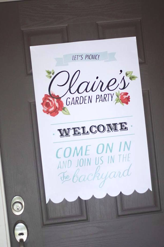 Welcome sign from a Shabby Chic Farmers Market Birthday Party via Kara's Party Ideas | KarasPartyIdeas.com - The place for all things PARTY! (49)