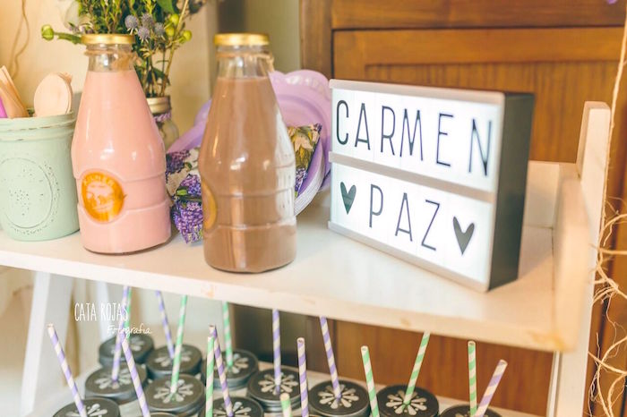 Drink station from a Shabby Chic Lavender & Mint Birthday Party via Kara's Party Ideas | KarasPartyIdeas.com - The place for all things PARTY! (17)