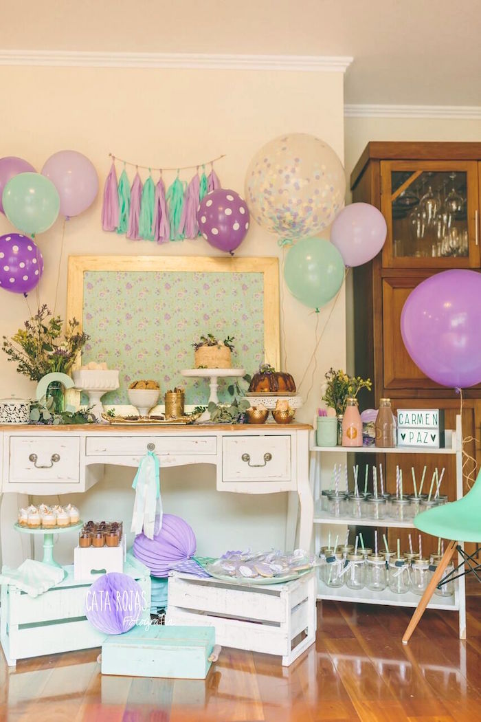 Shabby chic party setup from a Shabby Chic Lavender & Mint Birthday Party via Kara's Party Ideas | KarasPartyIdeas.com - The place for all things PARTY! (16)